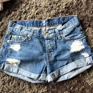 7 for all mankind denim shorts distressed